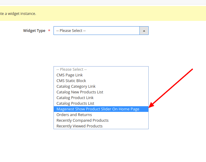Create a custom widget in Magento 2: Select widget type