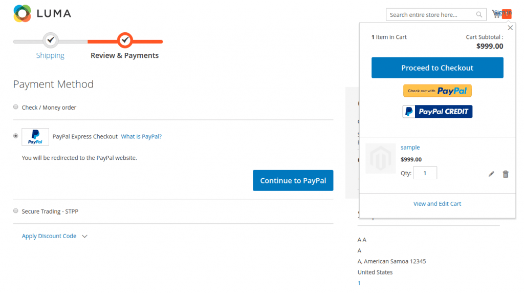 configure Paypal payment method in Magento 2: Product Detail, Mini Cart and Check Out page