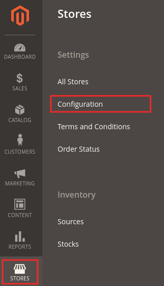 configure Paypal payment method in Magento 2: STORES > Configuration
