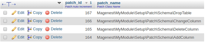Apply Schema Patch in Magento 2: drop table
