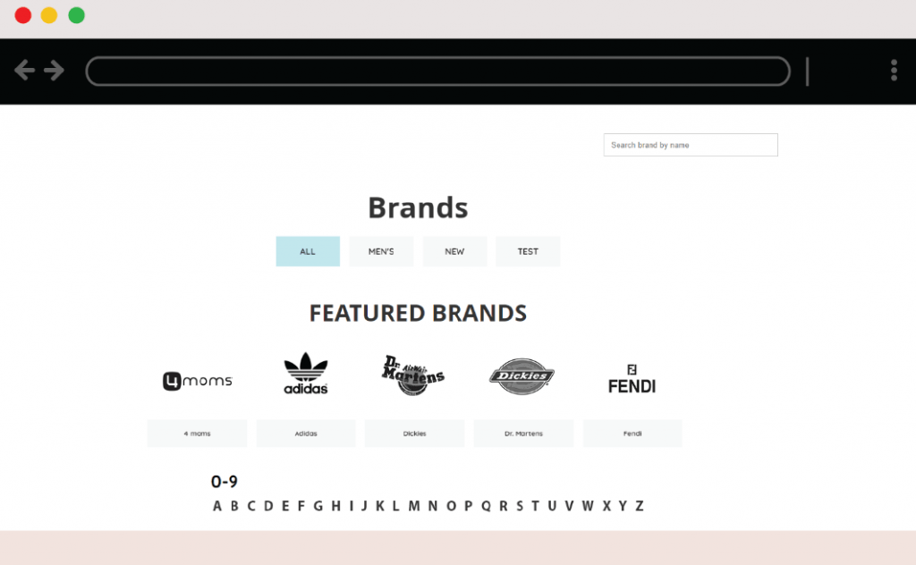 store within a store: brands page