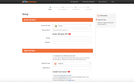 Shopify to Magento 2: Set source and target cart