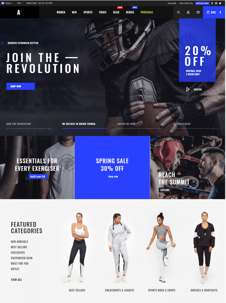 Magento 2 themes in 2020: athlete