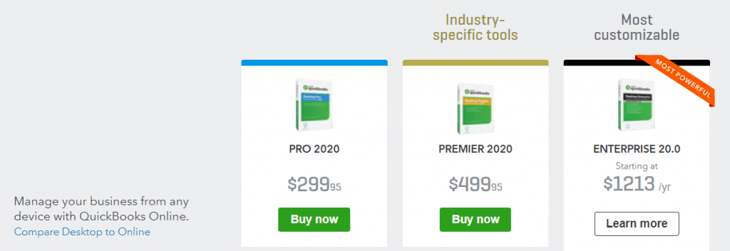 Quickbooks FAQ: Quickbooks desktop pricing