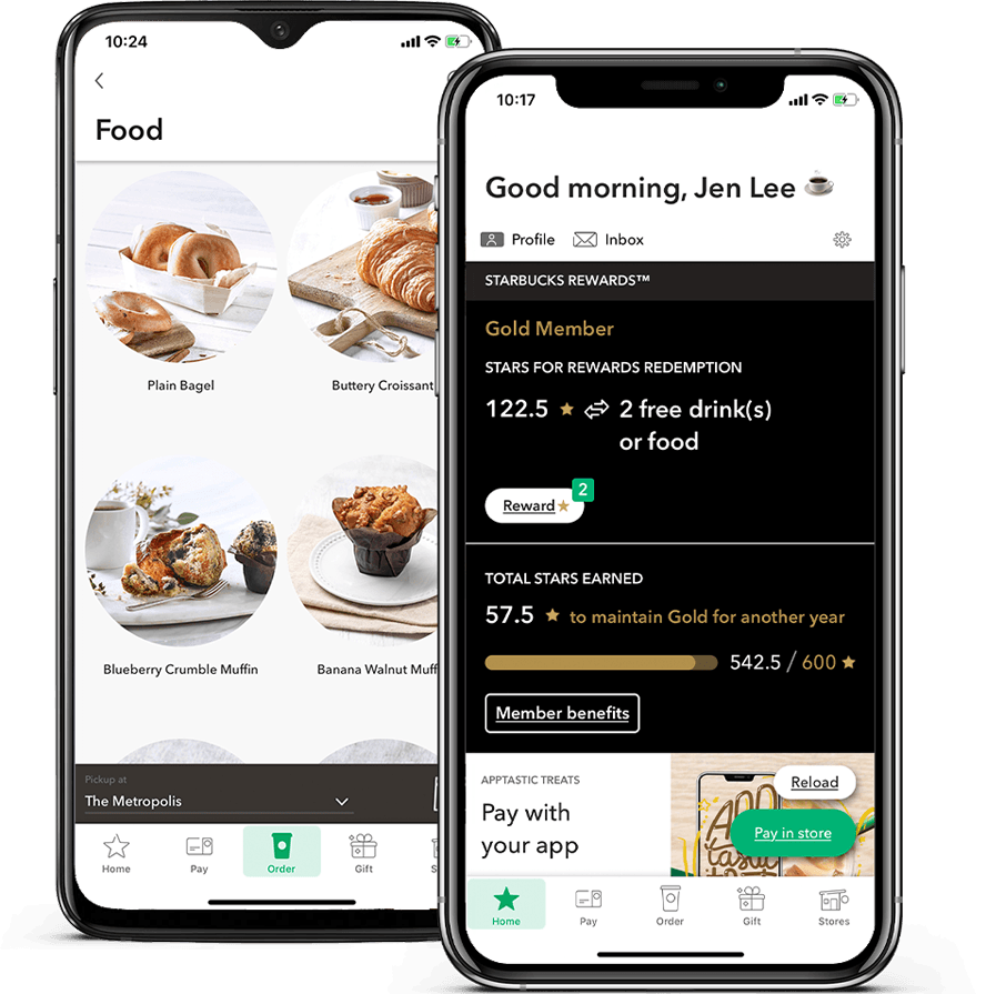 Starbucks Star rewards: mobile app