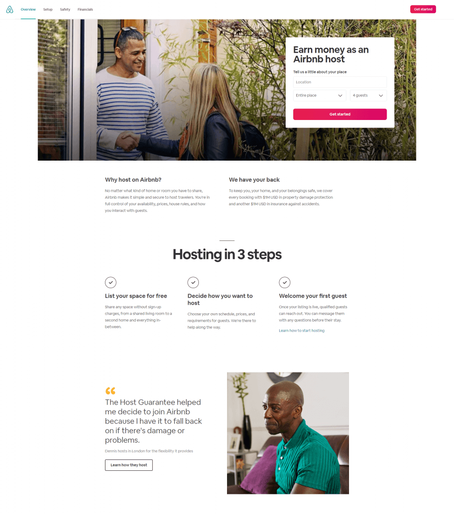 Magento landing page: AIrbnb