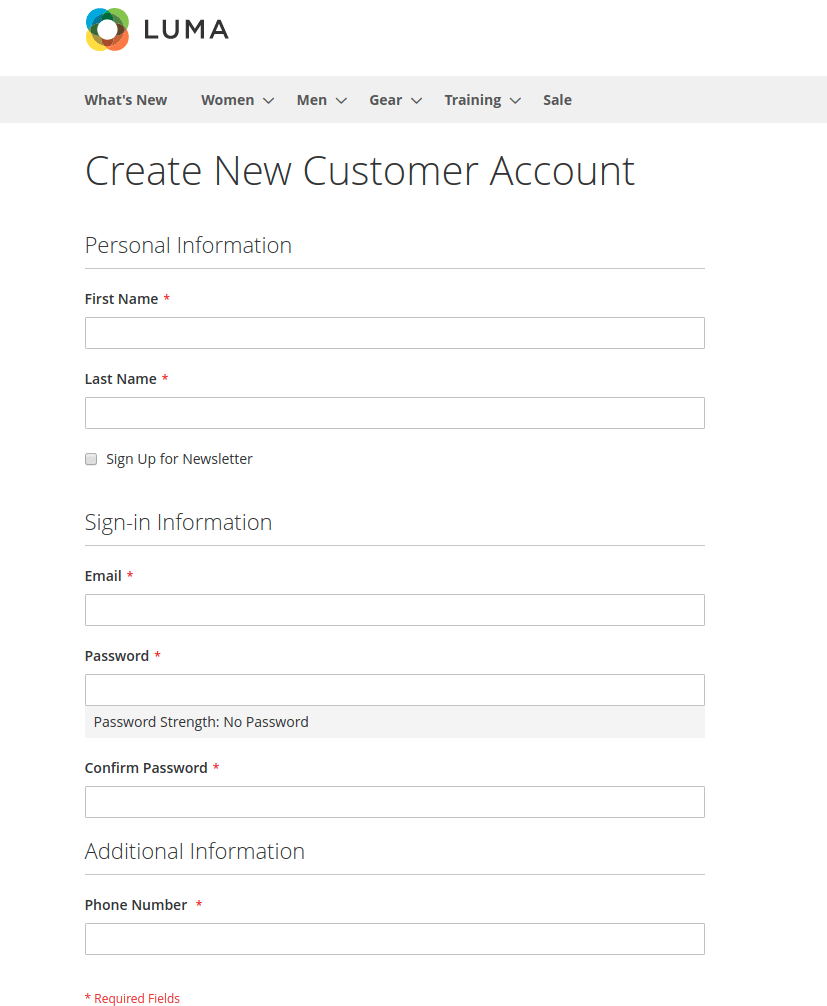 new attributes added in the registration page