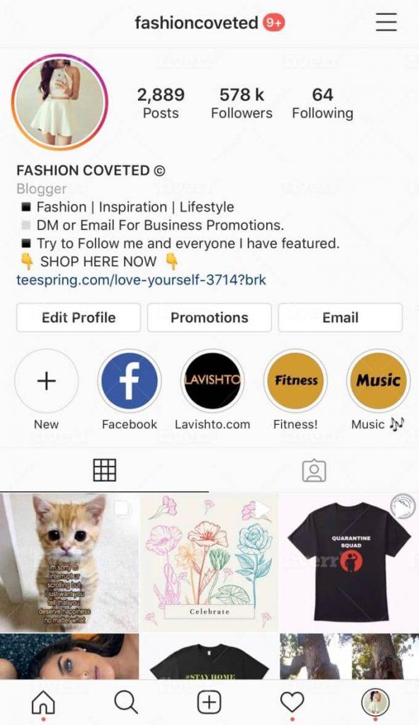 instagram shop example