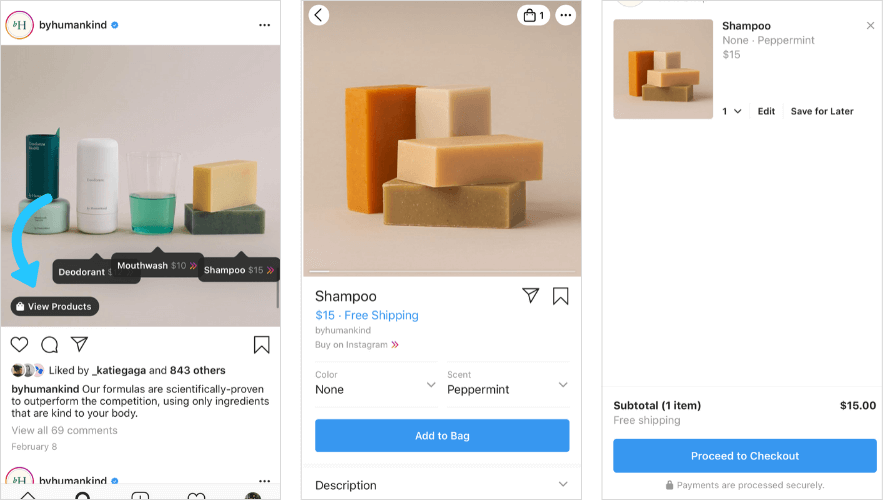 Mobile commerce trends: Instagram Checkout