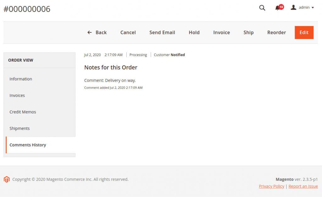 Order comment in Magento 2 back end