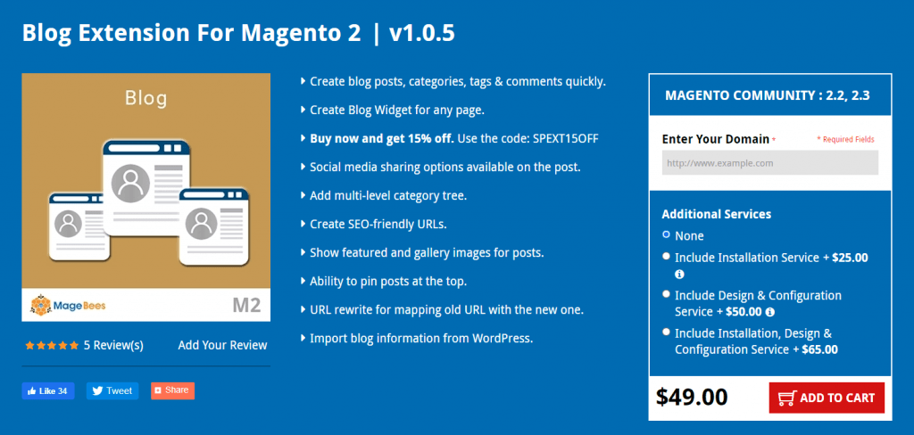 Magento 2 Blog extension: Magebees