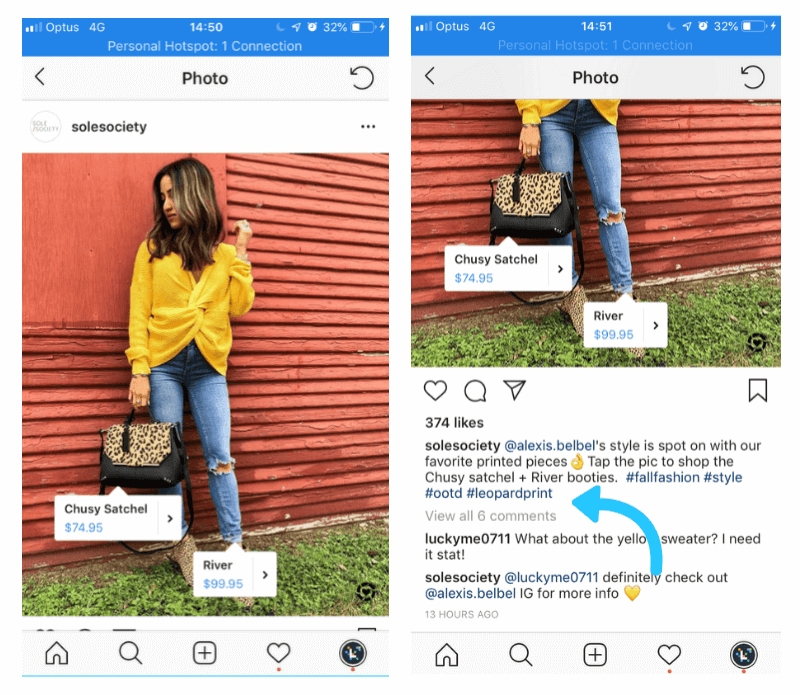 shoppable instagram feed: add hashtag