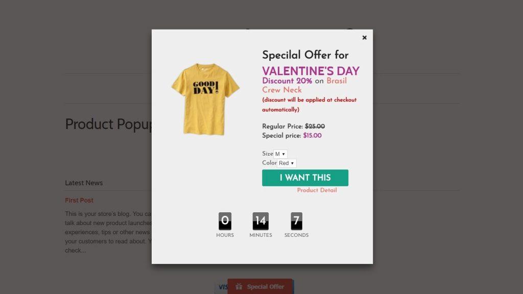 eCommerce pop-up
