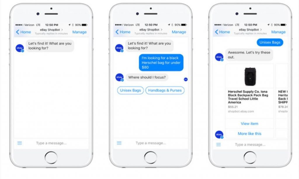 Facebook chatbot examples: eBay