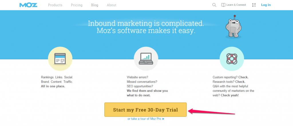 CTA marketing tactics: free trial