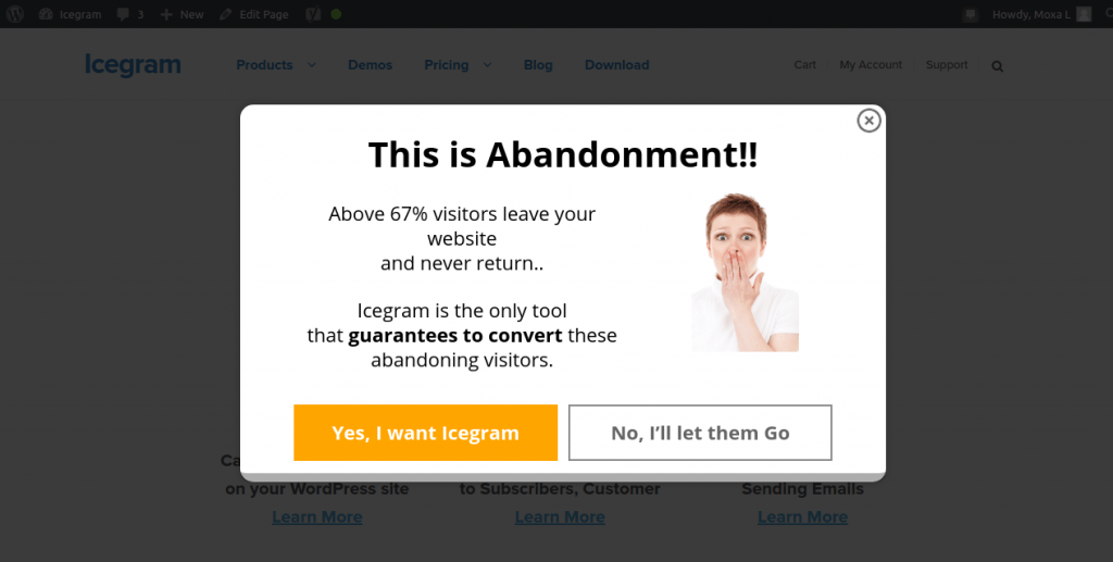 types of cta pop up example exit intent