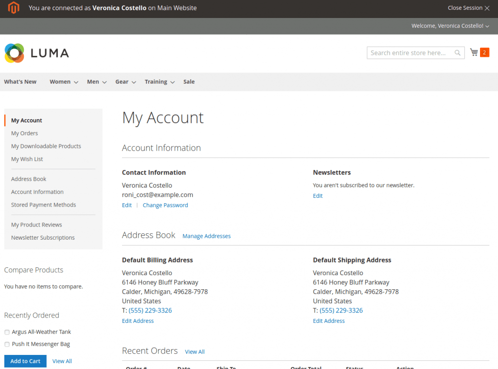 Magento 2 login as customer: My Account