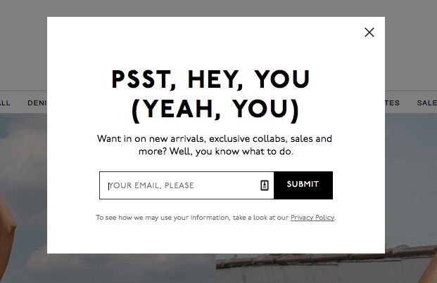 Types of popups: Email subscription