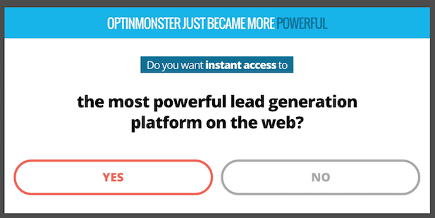 Types of popups: Yes/No