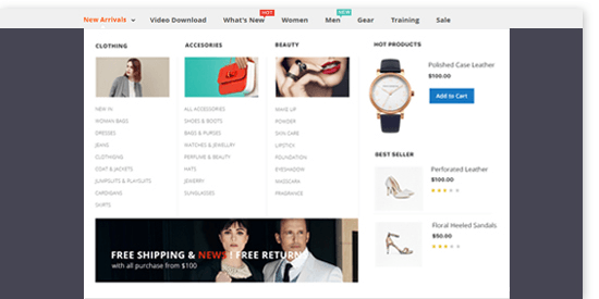 11 best Magento 2 Mega Menu extensions free & paid 2020 - Ubertheme