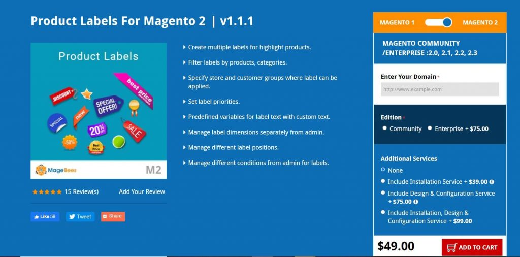 Magento 2 Product Label: magebees