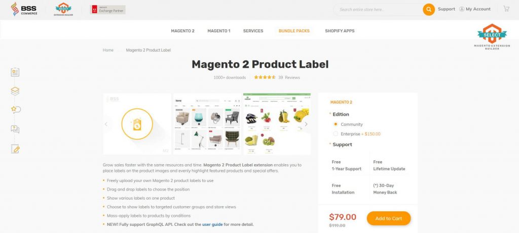 Magento 2 Product Label: BSS commerce