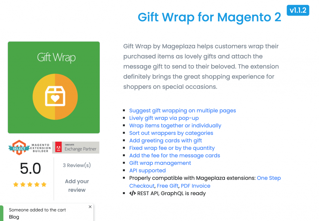 Magento 2 gift wrap: Mageplaza