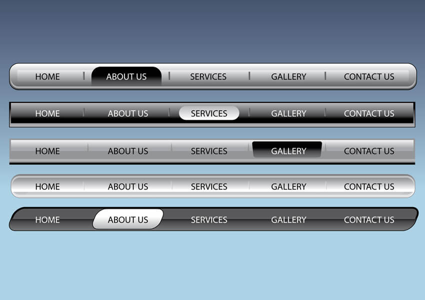 website menu bar designs