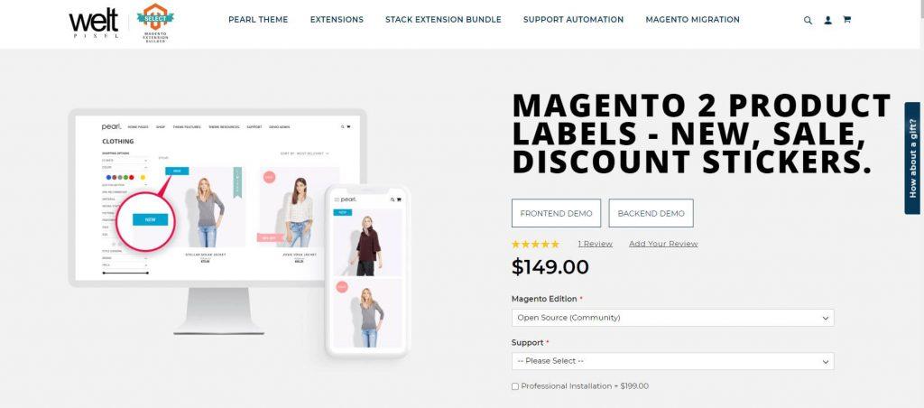 Magento 2 Product Label: Welt Pixel
