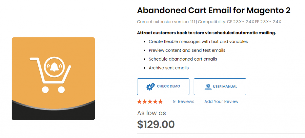Magento 2 Abandoned cart email extension by Aheadworks