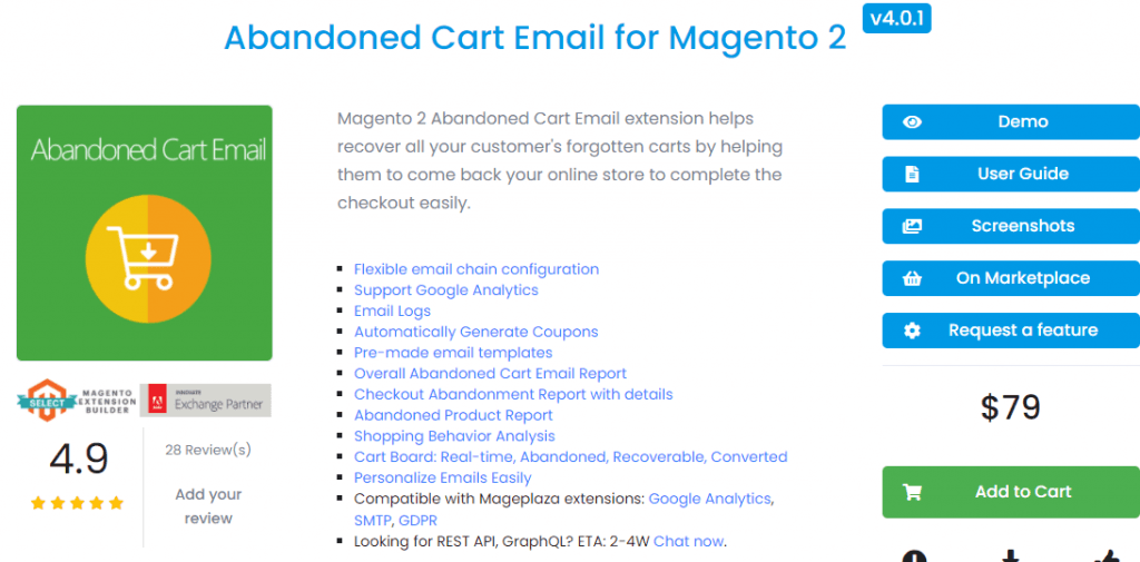 Magento 2 abandoned cart email extension by Mageplaza
