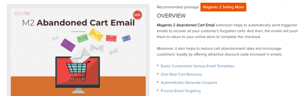 Magento 2 abandoned cart email extension by Land of Coder