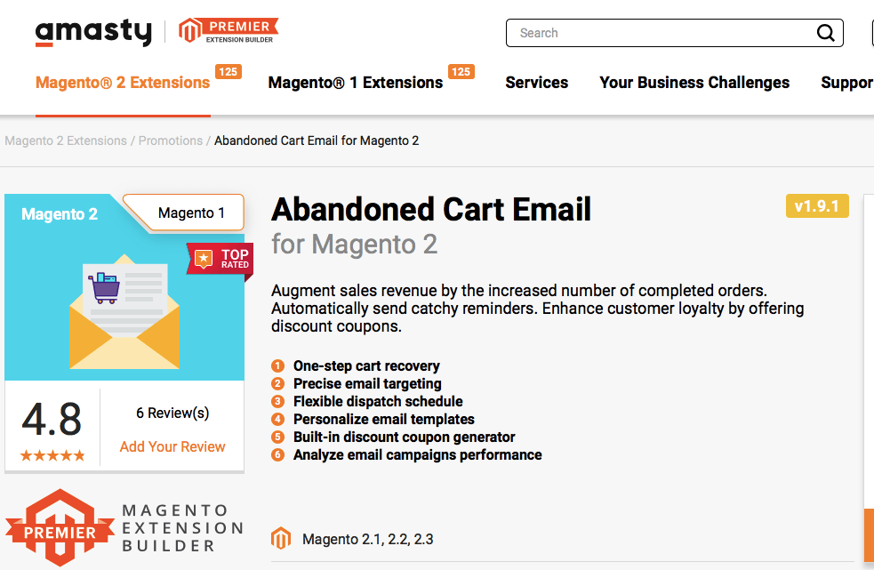 Magento 2 abandoned cart email extension by Amasty
