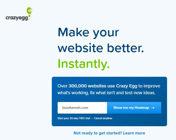 Crazy Egg is one of the best sales funnel examples