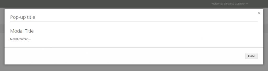 magento 2 modal widget: display popup