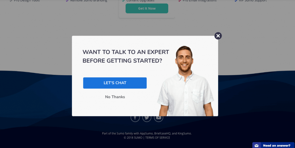 exit intent popup Offer Customer Service