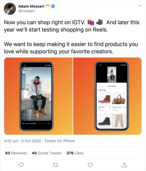Instagram Shopping across IGTV