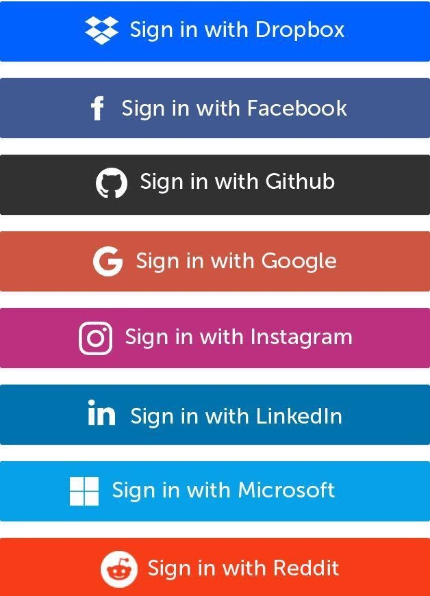 Social login: Common social accounts