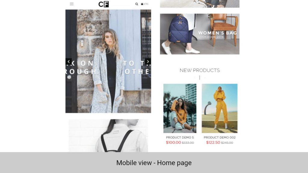 Magento 2 theme - Couture theme in mobile view