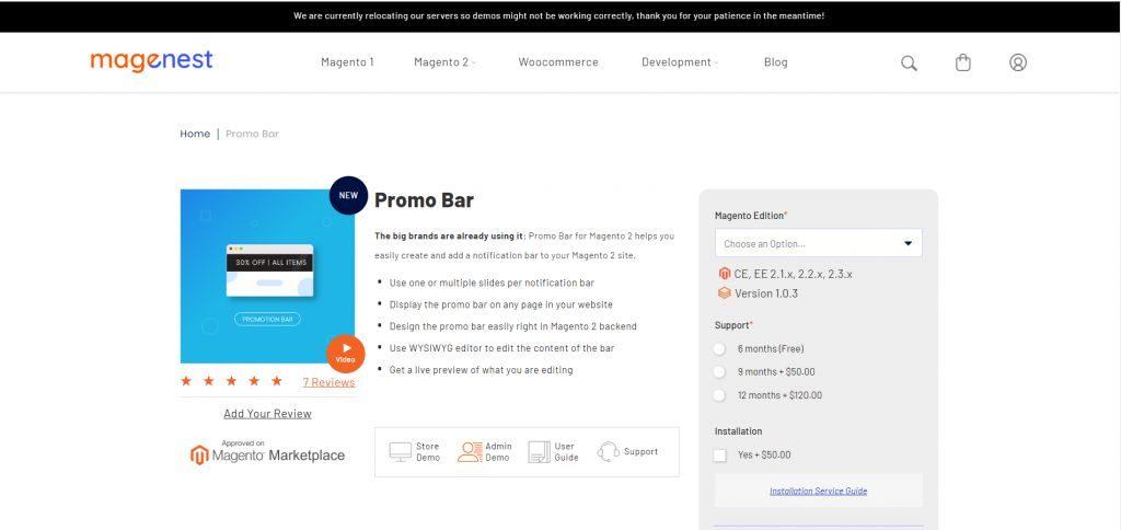 Magento 2 - Promo Bar