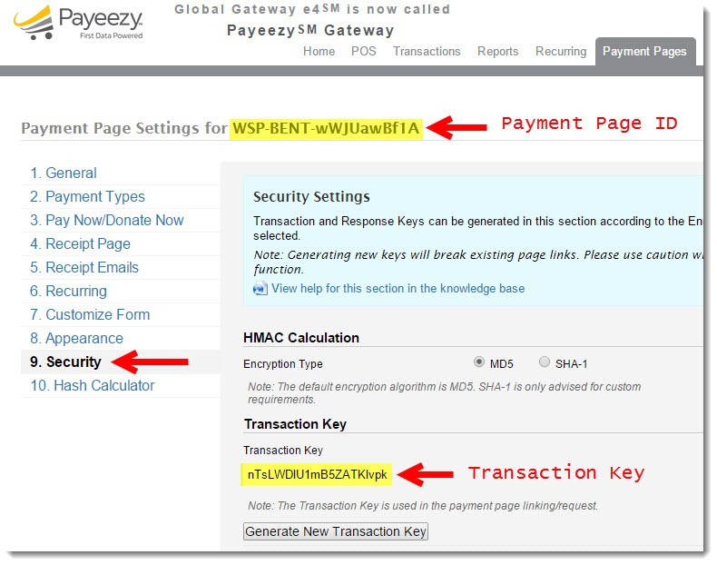 Payment Page ID and Transaction Key in Payeezy