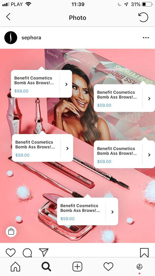 Sephora makes good use of Product Tagging on Instagram