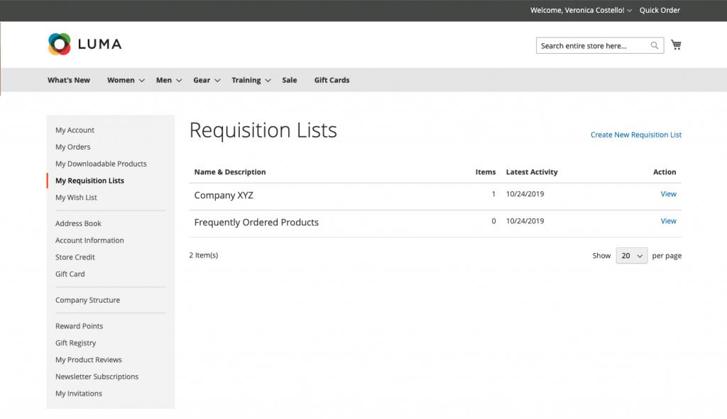 Magento 2 requisition list