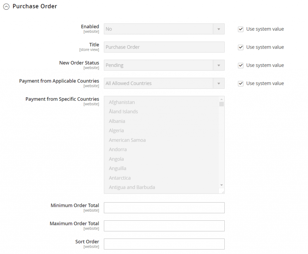 Magento 2 purchase order
