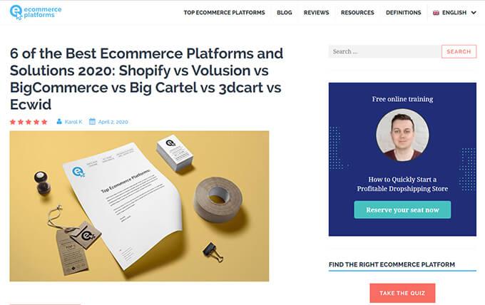 Ecommerce Platforms blog
