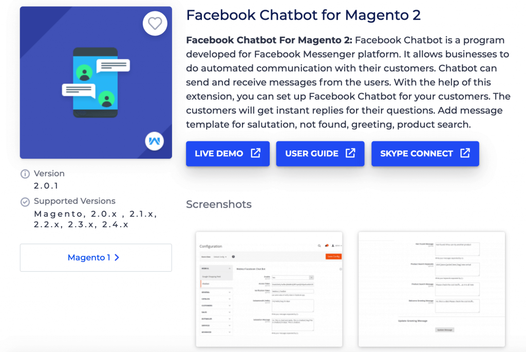 Magento 2 Chatbot extensions by Webkul