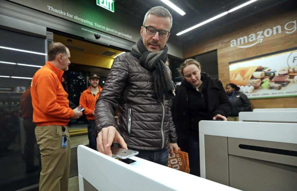 Self-checkout process for customers in Amazon stores