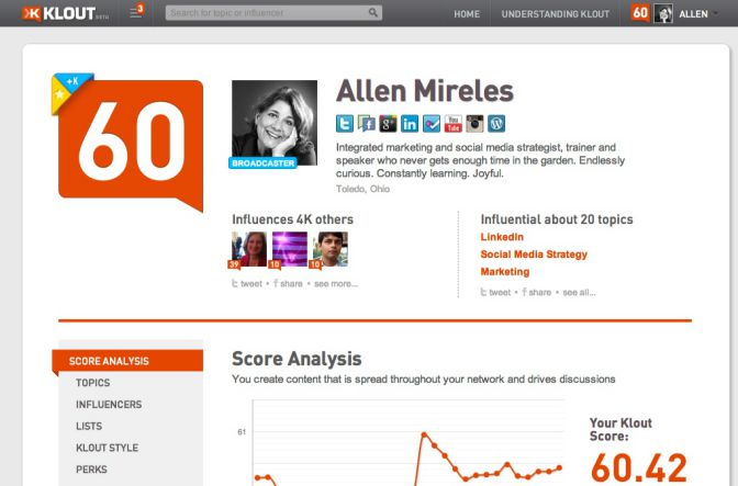 Typical examples of social proof: Klout