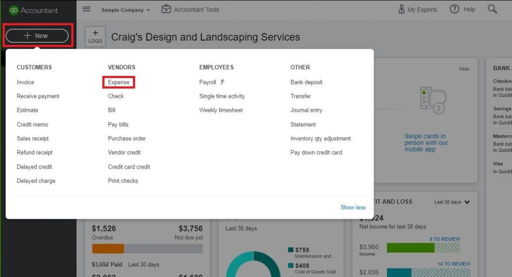 Entering Credit Card Charges in QuickBooks - Click the New button