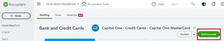 Choose the Add Account button
